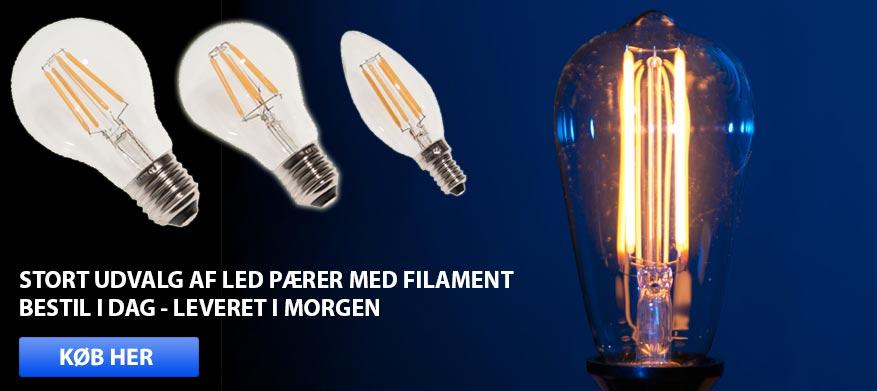 Filament pærer i LED med hyggeligt lys