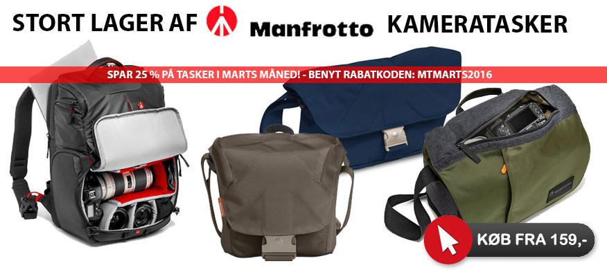 Manfrotto fototasker i mange farver og størrelser på lager